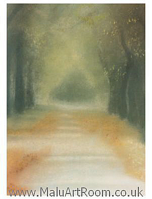 Limited edition fine art print entitled: Autumn Mist in Norfolk Park, by Sheffield UK artist: Malu. Showing a path of trees leading into a tranquil pastel autumn mist