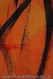 fine art limited edition print from original study of acylic paint on paper with strong shapes and colours of orange, red and black. For home and office interior furnishing and design, gifts collectibles and presents.